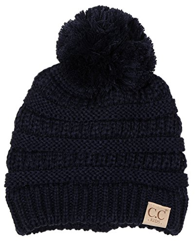 H-6847-31 Childrens Pom Beanie - Navy
