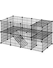 SONGMICS Pet Playpen, Apartment-Style Two-Storey Bunny Fence for Guinea Pigs, Bunnies ULPI02H