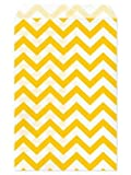 Health & Personal Care : Set of 100 Size 4X6 Yellow Chevron Paper Bags By My Craft Supplies
