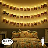 Dadiii 40 LED Photo Clip String Lights Christmas Lights for Hanging Photos, Pictures, Cards, Ideal Gift for Wedding, Party, Christmas Decoration, Powered by USB ( Warm Light )