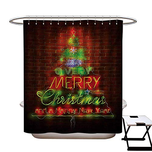 Georgia Neon Sign Bulldogs (Christmas Shower Curtains Mildew Resistant Neon Sign Have a Merry Xmas and Happy New Year Phrase Against The Wall Print Bathroom Decor Sets with Hooks W69 x L84 Burgundy Green)