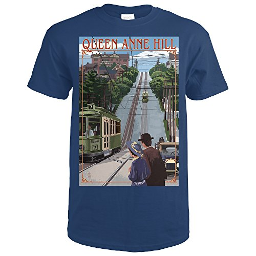 Seattle, Washington - Queen Anne Hill Counterbalance (Navy Blue T-Shirt Large)