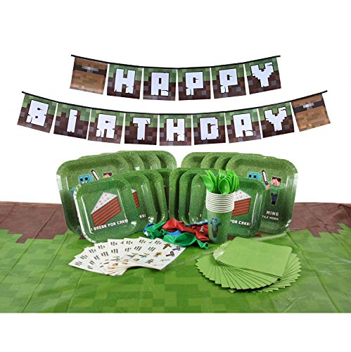 Deluxe Tableware Set for Pixel Mine Crafter Themed Parties with Happy Birthday Banner! (Serves 8) - Birthday Party Supplies - Tablecloth, Plates, Cups, Cutlery, Napkins, Balloons, 8 Bonus Gifts!]()