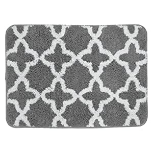 Amazon Com Charcoal Gray And White Plush Moroccan Trellis