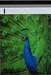 "10x13 (200) Blue Peacock Designer Poly Mailers Shipping Envelopes Boutique Custom Bags By ValueMailers (10"" X 13"")"