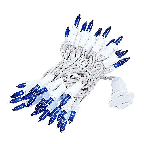 Novelty Lights 50 Light Blue Christmas Mini Light Set, White Wire, 11' Long ()