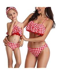 ZAXARRA Family Matching Mom Girls Bathing Suit Mommy and Me Swimsuit Swimwear Bikini Set (Girl 2-3T, Plaid)