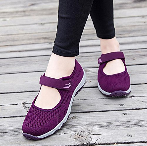 Dimensione Scarpe Traspiranti New Fall Spring Donna Knit Comfort Loafers 2018 Colore Casual Corsa HUAN Un Casual Ladies da Scarpe 36 da Travel Flat nxwYqz117