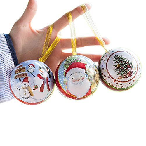 hefeilzmy 3 Pcs Christmas Decoration Tinplate Round Ball Candy Chocolate Box Christmas Tree Hanging Ornament Balls