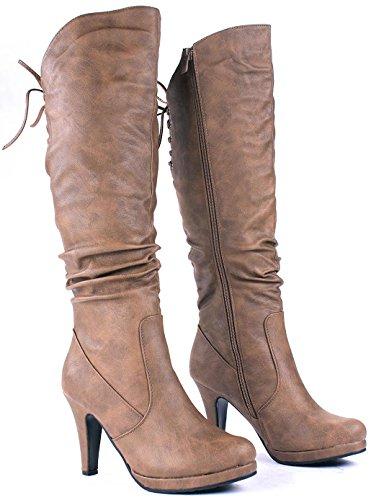 Jjf Schoenen Win40 Conac Sexy Slouch Lace-up Platform Stiletto Kniekousen-7.5