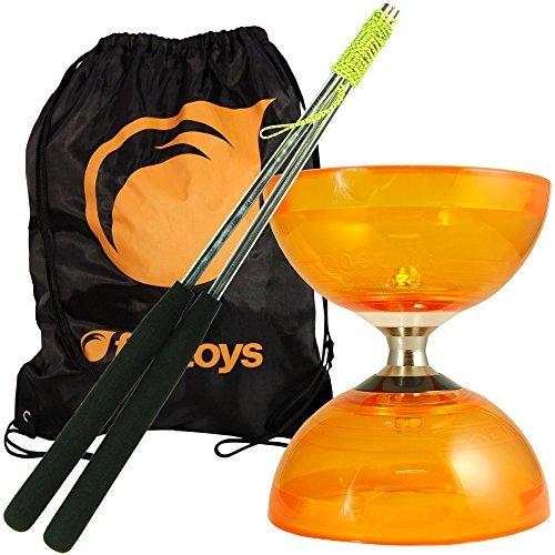 - Cyclone Quartz Diabolo (Orange) - Triple Bearing Clutch Diablo - Juggle Dream Metal Hand Sticks & Firetoys Bag