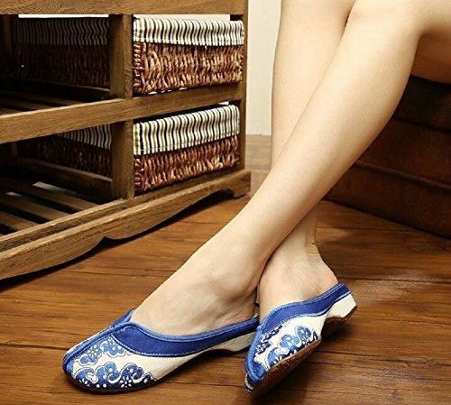 Lona estar Zapatillas por Lazutom casa mujer de de para Azul wFYPwxHqOE