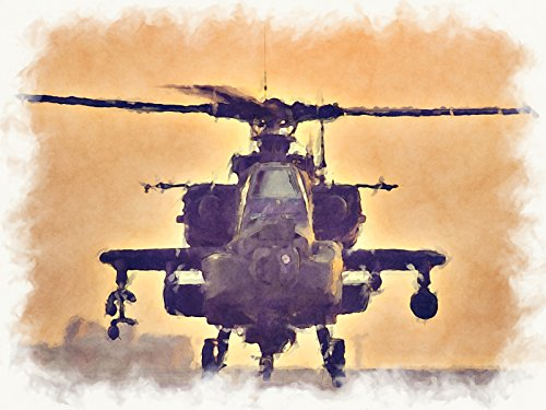 (Apache helicopter Art Apache Helicopter Poster Army Art Military Art 24X36 (ARMY250))