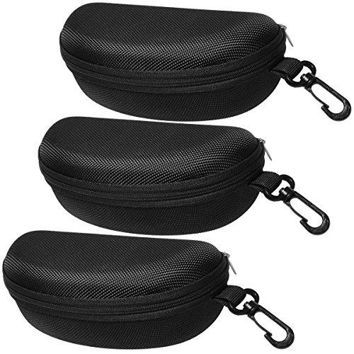 BIRCH's Semi-Hard Zipper Case For Eye-Glasses & Sunglasses (3 Pack Black)