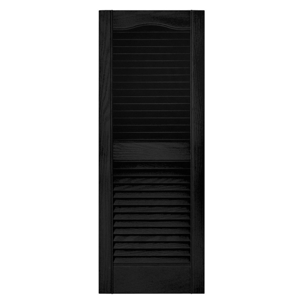 Builders Edge 15 in. x 80 in. Louvered Shutters Pair #002 Black