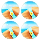 Liili Round Coasters Non-Slip Natural Rubber Desk Pads Beautiful female body on the beach conceptual image of vacation spa travel Photo 9972826