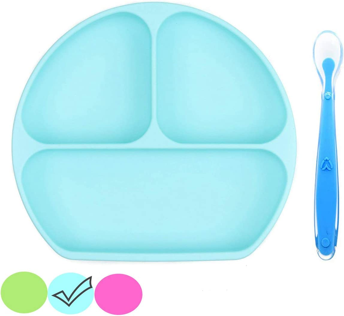 Suction Plate for Toddlers, Silicone Grip Dish, Divided Plate, Baby Toddler Plate, Dishwasher and Oven Safe–Stay Put Divided Baby Feeding Bowls and Dishes for Kids and Infants. (Blue)
