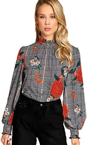 79707934 Romwe Women's Elegant Striped Stand Collar Workwear Blouse Top Shirts  Multicolor# X-Small