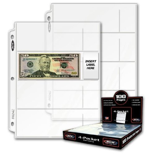 20 (Twenty) – BCW Pro 4-Pocket MODERN Currency Storage Page – Coin & Currency Collecting Supplies. Made in USA by BCW