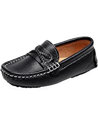 Boy's Girl's Slip On Shoelace Crossover Formal Dress Leather Loafers Shoes
