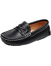 Shenn Boy's Girl's Slip On Shoelace Crossover Formal Dress Leather Loafers Shoes