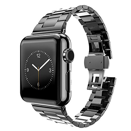 (HUANLONG Compatible with Apple Watch Band, Solid Stainless Steel Metal Replacement Watchband Bracelet with Compatible with iWatch Series 1/2/3/4(2 Black 42mm))