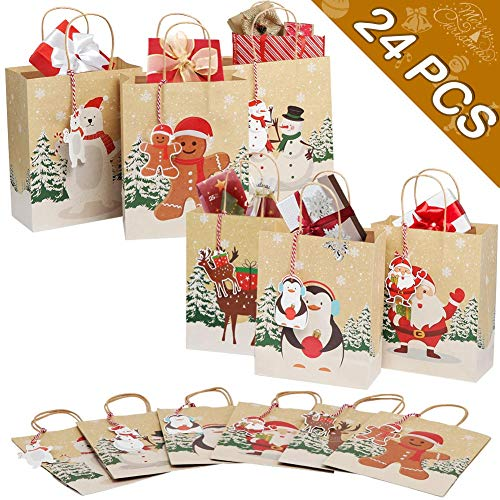 OurWarm 24pcs Christmas Gift Bags Assorted Kraft Holiday Gift Bags with Handles and Tags for Christmas Party Supplies Decor, 9