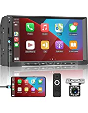 Apple Carplay Double Din Car Stereo Android Auto Car Radio 7'' Touch Screen Car Multimedia Player with Bluetooth FM Radio Receiver Mirror Link Support TF/USB + Rear View Camera