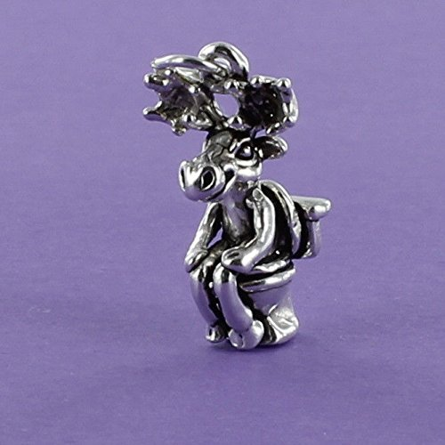 Moose on Toilet Charm Sterling Silver for Bracelet Humorous Comical - Jewelry Accessories Key Chain Bracelets Crafting Bracelet Necklace Pendants