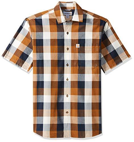 - Carhartt Men's Essential Plaid Open Collar Short Sleeve Shirt, 211-Carhartt Brown, X-Large