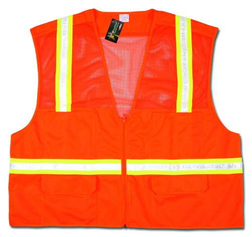 MCR Safety HS201VM Economy Surveyor Polyester Hybrid Mesh/Solid General Purpose Vest with White Vinyl/Yellow Reflective Stripe, Orange, -