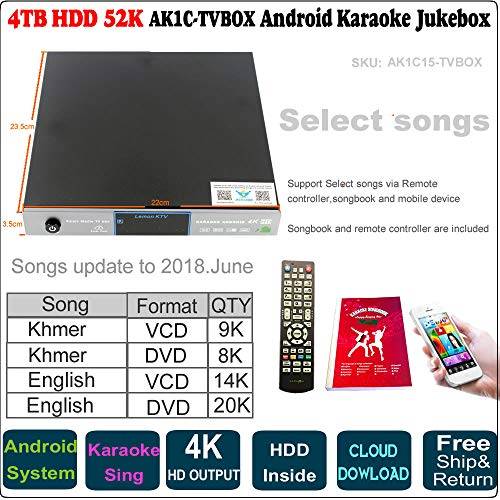 52k Players - 4TB 52K English VCD,DVD+Khmer/Combodian VCD,DVD Songs Android Karaoke Player, Jukebox, Songs Update to 2018 June,Remote Controller,Songbook Included TVBOX