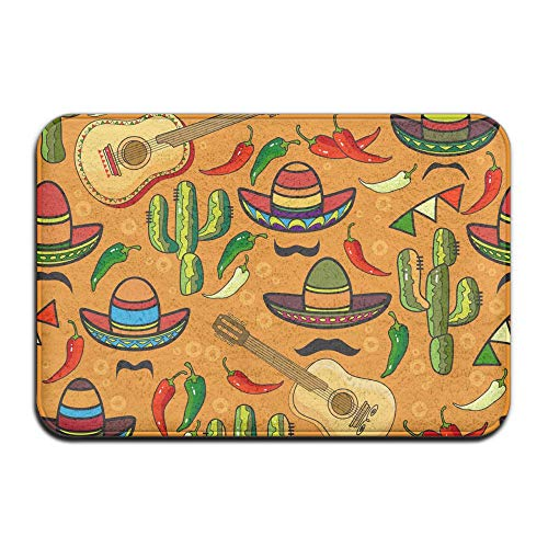PLYJAN Mexican Sombrero Hat Cactus Pattern Soft Non Slip Absorbent Bath Rugs,Memory Foam Bath Mats Entrance Mat Floor Mat by PLYJAN