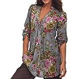 XUANOU Women Vintage Floral Printed V-neck Tunic Fashion Plus Size Blouse Tops Shirt (X-large)