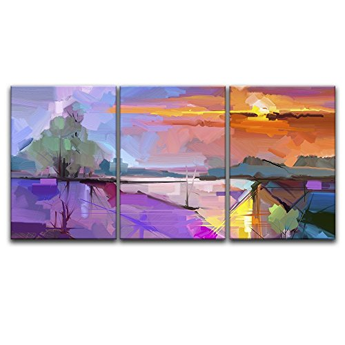 """Wall26-3 Panel Canvas Wall Art - Abstract Colorful Landscape - Giclee Print Gallery Wrap Modern Home Decor Ready to Hang - 24"""" x 16"""" x3"""