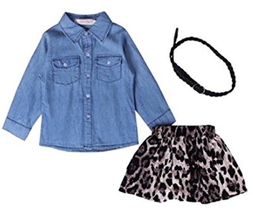Baby Little Girls Fashion Denim Long Sleeve T-shirt Leopard Print Skirt Set (3T, Blue) by SUNBOY