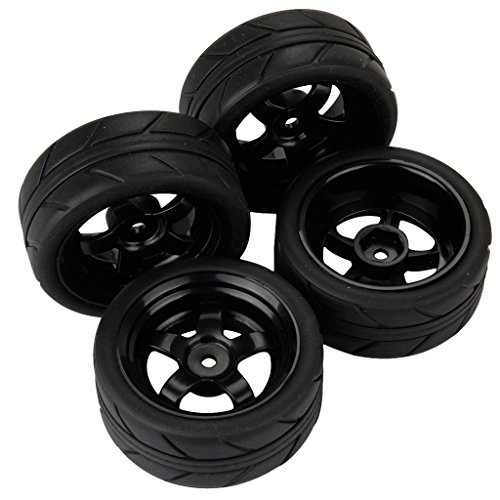 Yiguo Black Plastic 5 Spoke Wheel Rims and Black Arrow Pattern Soft Rubber Tires for RC 1:10 On Road Car Set of 4