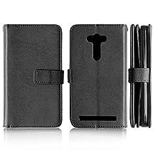 Asus ZenFone 2 Laser ZE500KL Case, Solid Color Case 9 Card and Cash Holder Wallet Case Premium PU Leather Case Cover Flip Stand Case for Asus ZenFone 2 Laser ZE500KL ( Color : Black-ZE550KL )