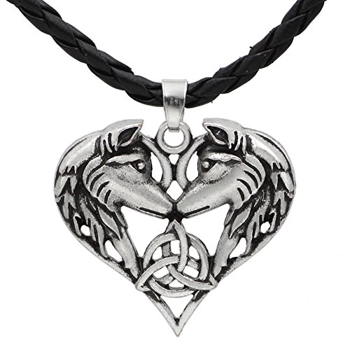 GuoShuang Men Celtic Spirit Amulet Couple Wolf Heart Pendant Necklace -