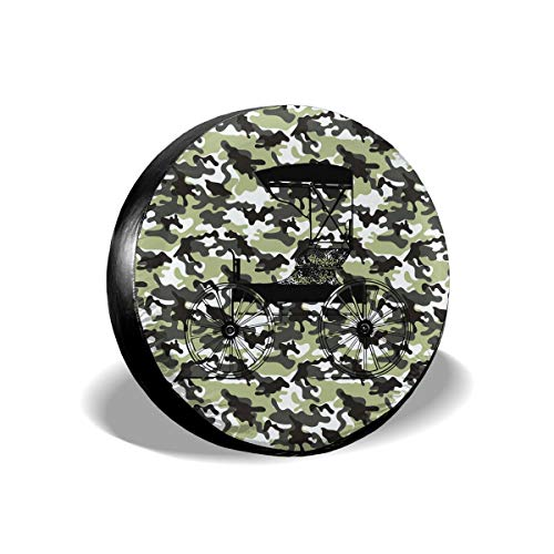 - Vintage Stroller Camo Army Spare Tire Cover Rear Car Decorations Ornament Wheel Accessories Decor Protector 14 15 16 17 Inch for Jeep Trailers RV SUV Trucks Offroad Parts