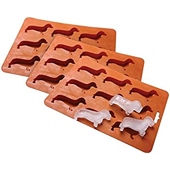 3 PCS Dachshund Dog Shaped Ice Cube Tray - Food Grade Silicone Rubber Mold - Safe