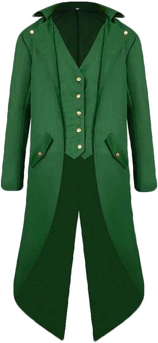 UUYUK Men Swallowtail Premium Fake Two Renaissance Gothic Blazer Jacket