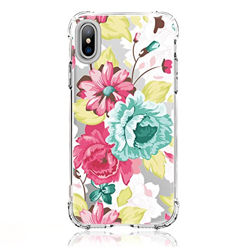 LUOLNH iPhone X Case,iPhone Xs Case with Flowers,Slim Shockproof Clear Floral Pattern Soft Flexible TPU Back Covercase for iPhone X/Xs -White Rose