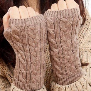 Naomi Fashion hand knitting winter warmth wool Gloves fingerless solid color Gloves Black one size