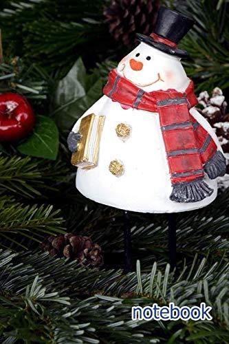 Pinecone Snowman - notebook: 6x9 cute lined journal | snowman christmas balls pine cones