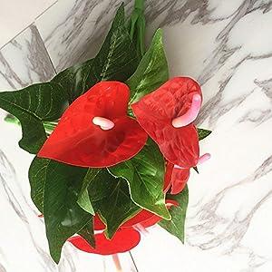 Ligntean Nice DIY Craft High Quality Silk Anthurium Home Party Decor Artificial Flowers Fake Bouquet 1