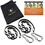 Tree Swing Straps Kit-Two 5ft Adjustable (20loops total ) Straps Hold 2000lbs,And Two Heavy Duty Carabiners (Stainless Stell),Easy & Fast Swing Hanger Installation To Tree , 100% Non-Stretch. (Black)