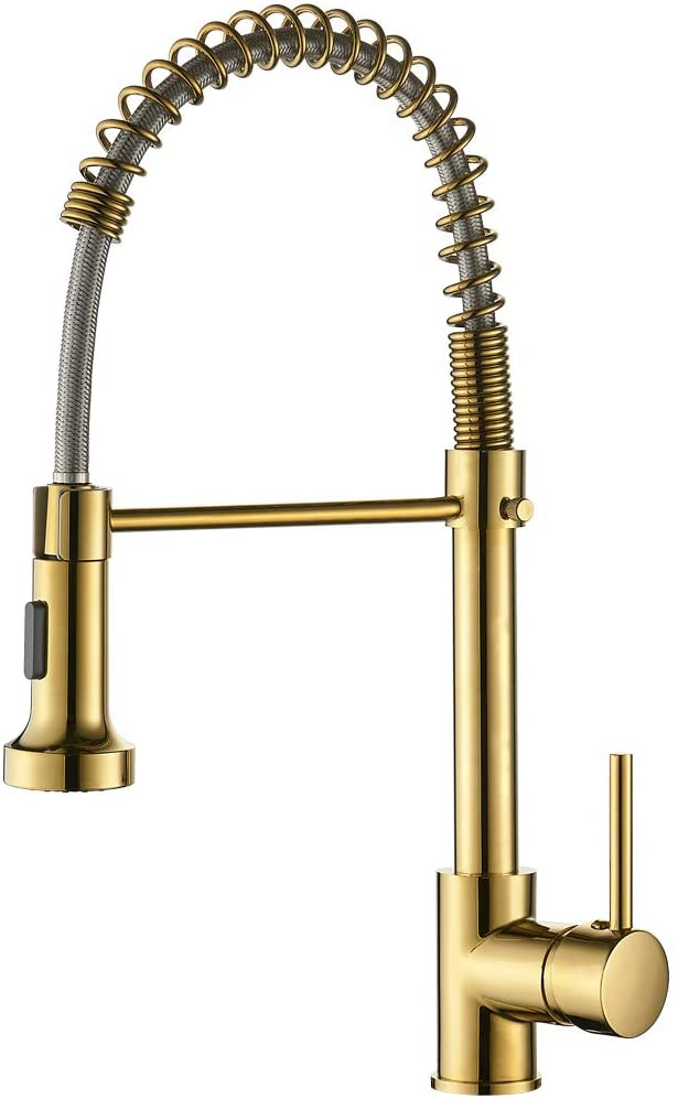 GIMILI Gold Kitchen Faucet with Sprayer,Modern Single Handle High-Arc Pull Out Kitchen Sink Faucet with Pull Down Sprayer