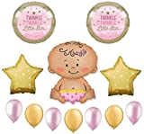 Twinkle Twinkle Little Star Baby Girl Shower Balloon Bouquet Decorating Kit 12 Piece Mylar and Latex Balloons Set -Plus (1) 66' (66 Foot) Roll of Curling Balloon Ribbon