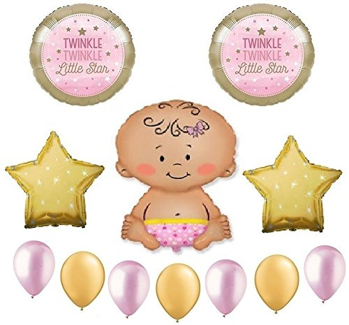 Twinkle Twinkle Little Star Baby Girl Shower Balloon Bouquet Decorating Kit 12 Piece Mylar and Latex Balloons Set -Plus (1) 66' (66 Foot) Roll of Curling Balloon Ribbon (Shaped Bouquet Balloon)